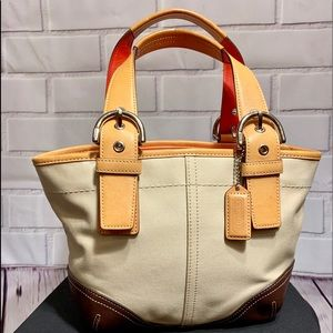COACH Mini Hampton Genuine Leather Canvas tote bag